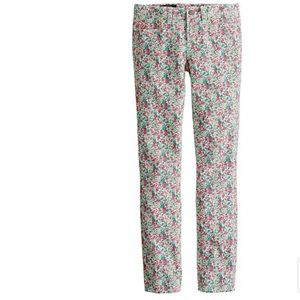 J. Crew liberty toothpick jeans ankle floral